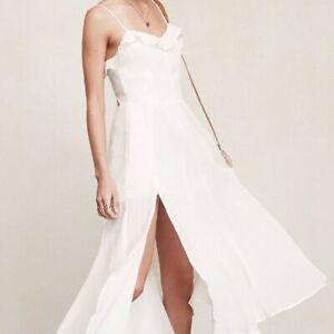 Reformation Selma Dress, Ivory White Midi Strappy Summer Dress With Slit 2