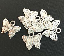 12 Silver antique silver Butterfly Charm, alloy butterfly charm