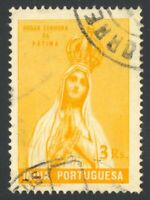 PORTUGUESE India 1949 3r ORANGE YELLOW DOUBLE PRINT USED #482 variety