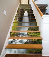 3D White Brick 7 Tile Marble Stair Risers Photo Mural Vinyl Decal Wallpaper AU