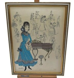 Vintage Simonetta Music Art Ink Drawing Picture Lady on Piano Framed Signed