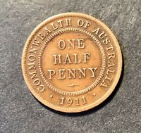 1911 Australian Predecimal Coin. KGV (1/2) Half Penny. x 1 Coin Ungraded