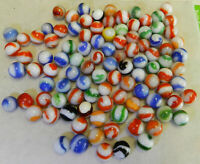 #10937m Vintage Group of 100 Akro Agate Corkscrew Marbles .58 to .70 Inches