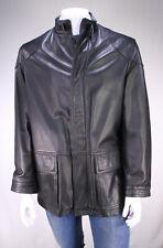 * PAUL & SHARK * Black Heavy Leather Zip Front Jacket~ Large