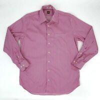 Peter Millar Striped Shirt Men's Size L Hot Pink Long Sleeve Button Up Dress
