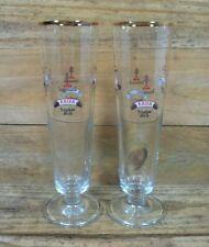 Lindemans Brewery Belgium 2 Pilsner Beer Glasses Faro Lambic Fruit Beer