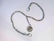 Pocket watch chain with Mercury Head Silver Dime fob