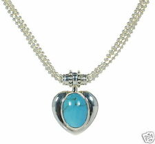 Joseph Esposito Solid 925 Sterling Silver Snap-on Turquoise Heart Bead Necklace'