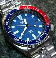 SEIKO DIVERS WATCH AUTO 7002-7001 15 BAR 17J DATE BLUE FACE PEPSI BEZEL SS BAND