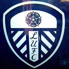 2X Leeds United Blanc Vinyle Fenêtre Autocollants Voiture Van Bus Porte Patio graphique Lufc