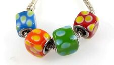 Lampwork Handmade Cube Bead Big Hole Bracelet Charm Blue Orange Green Red Dot