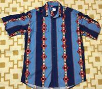 Wrangler Western Shirts Pearl Snap Rockabilly Native American Aztec Men's SZ L
