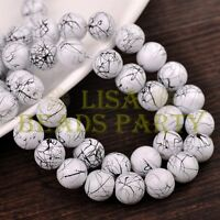 Hot 50pcs 8mm Round Black Stripes Charm Loose Spacer Glass Beads White