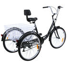 "Ridgeyard 3-Wheel 24"" Tricycle Trike Bike Bicycle Cruise 7-Speed W/ Basket"