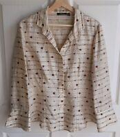 Carlisle Womens Beige Brown Textured Silk Beaded Button Down Shirt Top Size 12