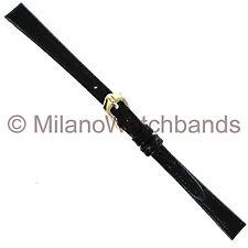 9mm Black Ladies Hirsch Rainbow Genuine Calfskin Leather Flat Watch Band