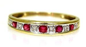 Pretty Ruby & Diamond 9ct Yellow Gold Half Eternity ring size O ~7 1/4