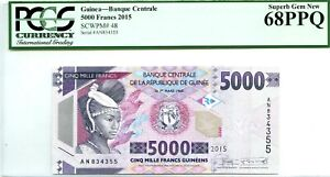 GUINEA 5000 FRANCS 2015 BANQUE CENTRALE GEM UNC PICK 48 LUCKY MONEY VALUE $680
