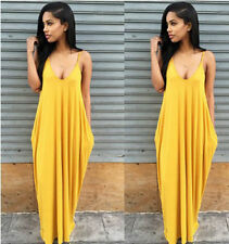 Fashion New Plus Women V Neck Strappy Hippie Club Skirt Dress Long Maxi Dress