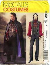 McCall's Costumes Pattern 4092 Men's Gothic Vampire Cloak Vest Size S-L Uncut