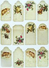 A/4 Scrapbook Paper  Gift & Hang Single Sheet 12 Tags Christmas