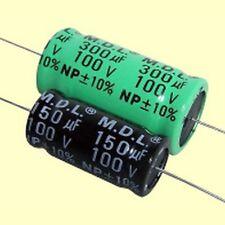 2 PCS. Elko bipolare assiale 120,0uf 120uf 100v 10% 16x34mm 105 ° C