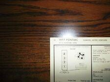 1977 Pontiac Series Models 151 CI L4 2BBL SUN Tune Up Chart Great Shape!