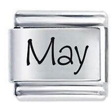 MAY Name - 9mm Daisy Charm by JSC Fits Classic Size Italian Charms Bracelet