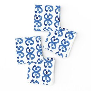 Cocktail Napkins Watercolor Ikat Blue And White Horse Shoe Abstract Set of 4