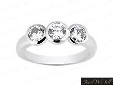 Natural 0.25ct Round Diamond 3Stone Engagement Ring 10K White Gold GH I1 Bezel