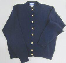 Vintage PENDLETON Preppy Navy Blue LAMBSWOOL Cardigan Gold Buttons MED