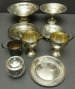 Lot 9pc USABLE STERLING SILVER Trinket Dish Sugar Cream NO SCRAP 1120g Weighted