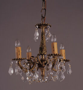 4 Light French Brass And Crystal Mini Chandelier