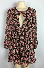 Lucca Couture Dress Floral Long Sleeve Mini Dress Size Small NEW Keyhole Revolve