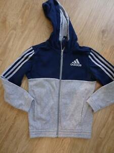 ADIDAS boys grey navy hooded zip thru jumper AGE 5 - 6 YEARS authentic