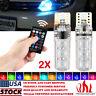 2X T10 W5W 5050 SMD RGB 6LED MultiColor Light Car Side Wedge Bulb Remote Control