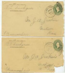 1899 Kingfisher Oklahoma Territory PSE's to Madison Kansas - G L Snodgrass