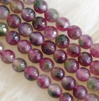 Natural 8mm Faceted Multicolor Tourmaline Round Gems Loose Beads 15'' ##MJ188