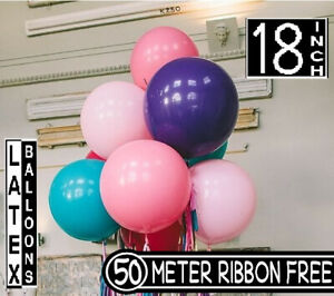 """50x 18"""" INCHES 45cm 1.5FT GIANT LARGE LATEX BALLOONs Party Decor 50m Free Ribbon"""