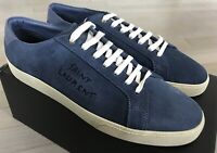 600$ Saint Laurent Suede Soho Blue Low Tops Sneakers size US 14, Made in Italy