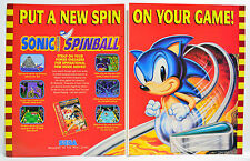 Sonic Spinball for Sega Genesis 1993 vintage video game two-page Print Ad
