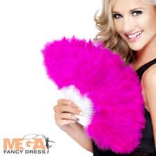 Hot Pink Marabou Fan Hen Night Party Burlesque 20s Fancy Dress Costume Accessory