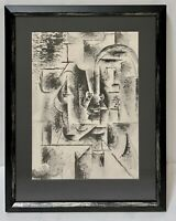 PABLO PICASSO Rare Original Vintage Lithograph Cubist Man w Pipe B&W Abstract