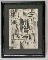 PABLO PICASSO Vintage Original Lithograph RARE Cubist Man with Pipe Smoking COA
