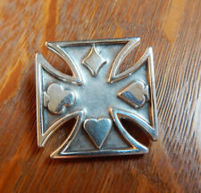 Large Iron Cross Suit Of Cards Sterling Silver 925 Necklace Pendant Sinners Inc