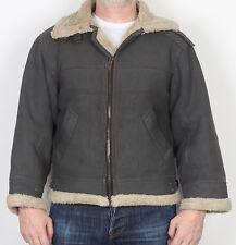 "Aviator Faux Sheepskin Coat Jacket Medium 40"" 42"" Grey (JBB)"