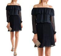 Michael Kors Luxus Kleid/Plisseekleid Carmen-Ausschnitt  Gr.38/M Neu!