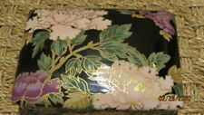 Fitz And & Floyd Porcelain Cloisonne Peony Playing Card Box Holder Black Pink