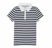 French Toast Girls Short Sleeve Woven Collar Stripe Polo, Navy/White, S (6/6X)