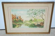 """Antique Signed Martinet Paris Etching Society """"The Little Castle"""" Framed 17x11.5"""
